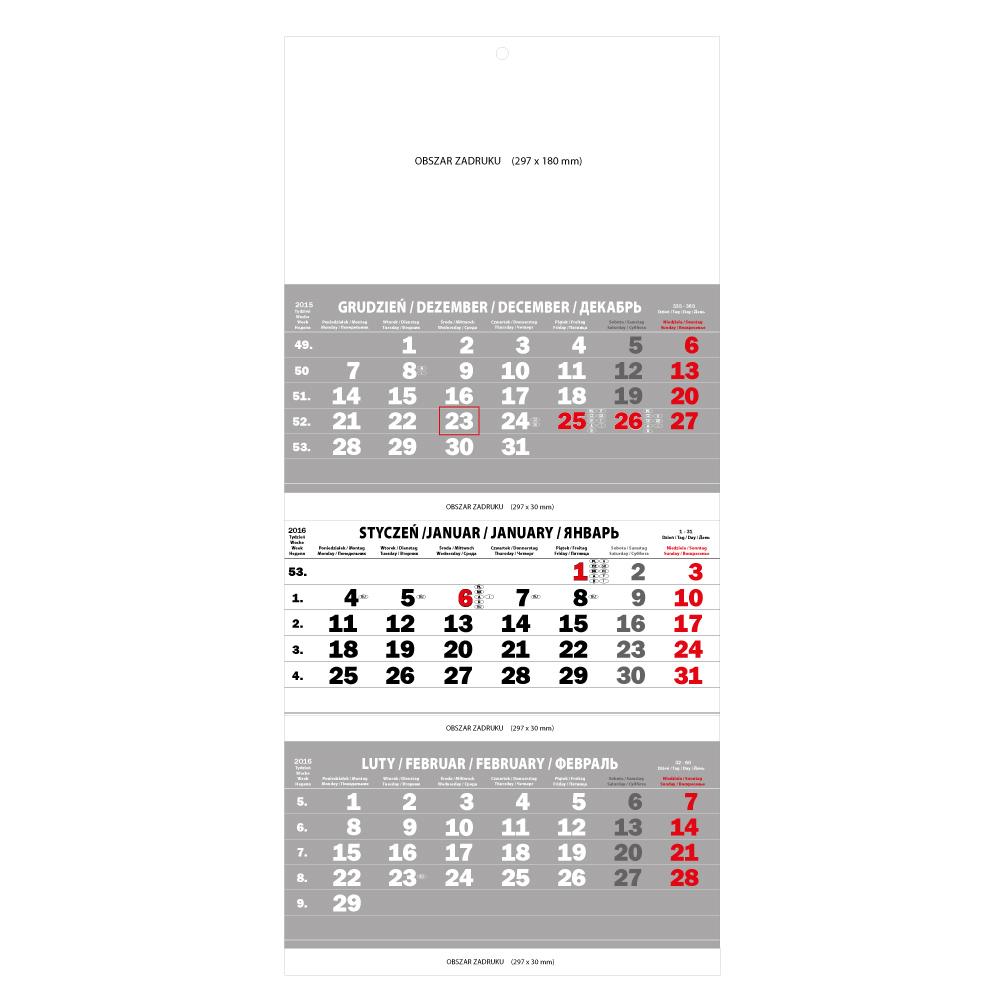 polsky kalendar Trzymiesięczny ścienny kalendarz 2016 składany szary   polski  polsky kalendar
